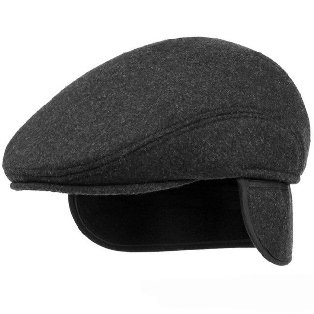 40e134b8704dbe HT1405 Warm Winter Hats with Ear Flap Men Retro Beret Caps Solid Black Wool  Felt Hats for Men Thick Forward Flat Ivy Cap Dad Hat