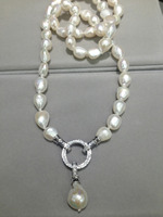 Multi wear Long FreshWater Pearl Necklace Natural 10 11MM 80CM Baroque Long Pearl Necklace Fashion Women Jewelry