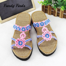 Fandy Finds Women Slippers Hand-Woven Sunflower Lady Outwear Handmade Casual Beach High Quality Sandals Customized Slides