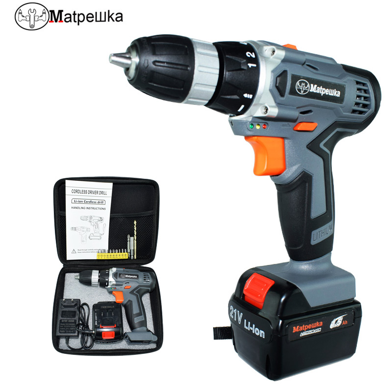 21V drill multi-function electric screwdriver rechargeable household electric drill power tool Mini drill+13 gift+tool bag odin&bosch tool bag multi function electric woodworking repair bag hardware electric belt