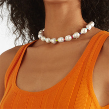 Charm White Imitation Pearl Necklace Heart shape Beaded Choker Bridal Wedding Party Personality Statement Jewelry Gift