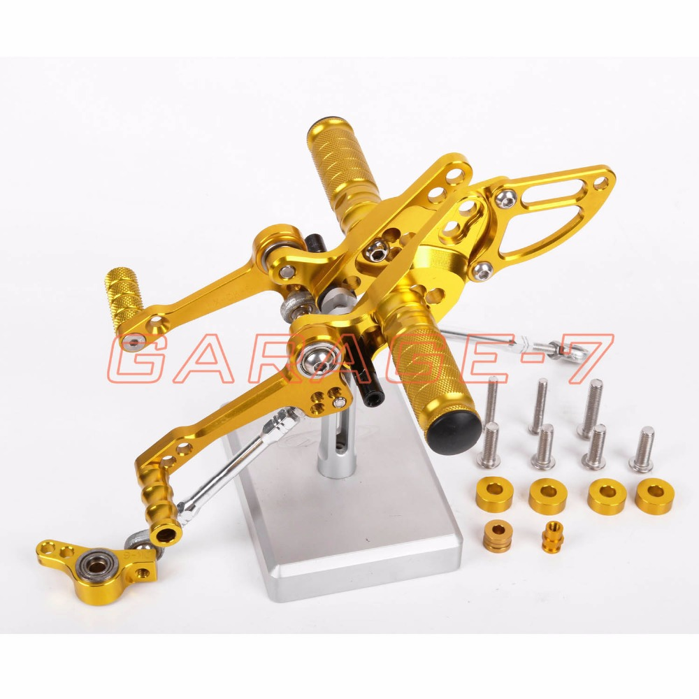 Aluminum Alloy CNC Rearsets Adjustable Foot Rests Rear Set Yellow For DUKATI STREETFIGHTER 848 All Years Motorcycle Foot Pegs