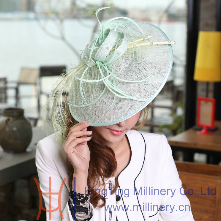 Free Shipping Jue'syoung Hot Sale New Elegant Women Hair Fascinator Hat Women Hair Accessories Lady Light Green Color Headbands best new product on sale 30% 750ml brazilian keratin hair treatment hair free shipping