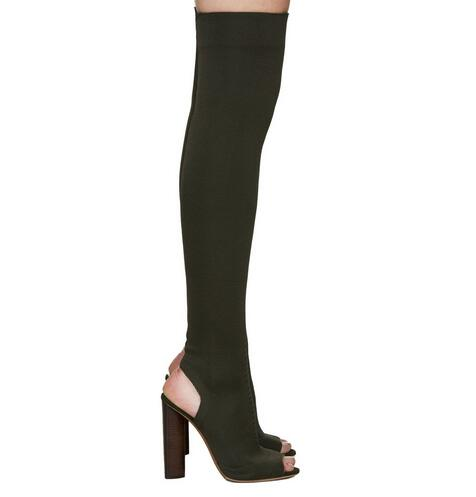 Black stretch fabric suede over the knee open toe knit Boots Cut Out Heel Thigh High Boots In Beige Knit elastic sock long Boots womens thigh high boots pointed toe black knit shoes women sock boots stretch fabric low heels over knee womens chelsea boots
