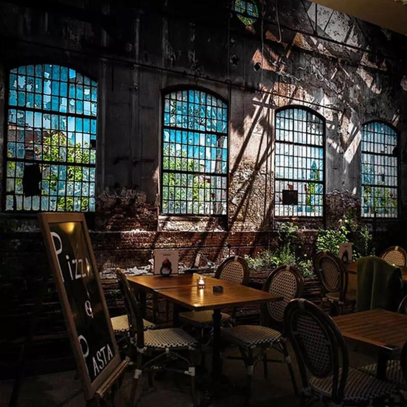 Custom 3D Photo Wallpaper Retro Industrial Wind Dilapidated Window Large Art Wall Painting Bar Restaurant Papier Peint Mural 3D