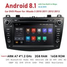 8 «Android 8,1 автомобильный dvd-плеер с двумя цифровыми входами для Mazda3 Mazda 3 2010-2013 2G + 16G лента Авторадио рекордер gps навигации Wi-Fi видео DAB + SWC