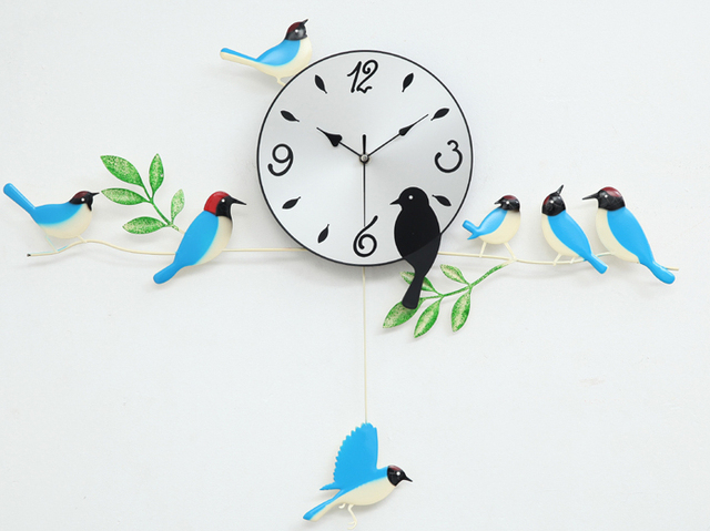A060 Wall Clock Clocks Painting Birds Home Decor Decoration New Design Swing Garden Blue Orange Red