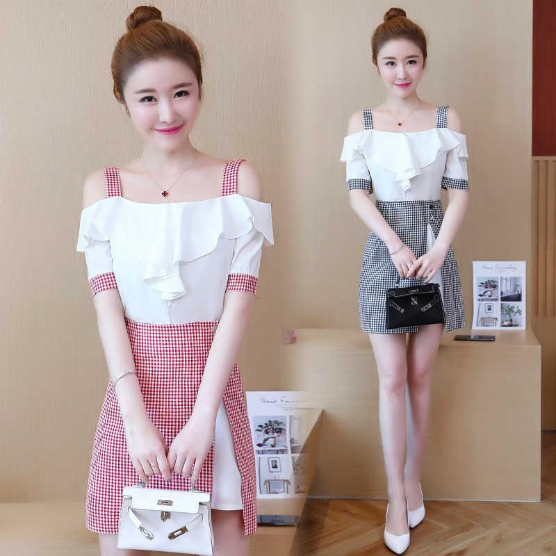 bb02adcec new summer dresses short dress with plaid print skirt two-piece suit cute  girl lady vestido clothing set dress design Korean sty