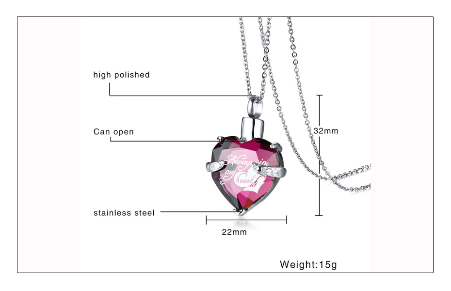 Meaeguet Glass Heart Urn Cremation Ashes Pendant Necklaces For Women Memorial Keepsake Jewelry  You Always In My Heart  (6)