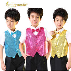 Songyuexia дети блестящая Одежда Мальчики хор студенты костюмы для выступлений дети хип-хоп джаз танец блестками жилет сценический танец