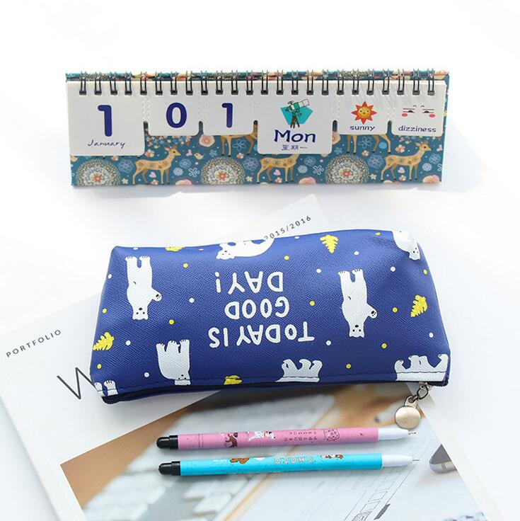 Simple Cartoon Animal Flamingo Penguin PU Capacity Pencil Bag Stationery Storage Organizer Case School Supply