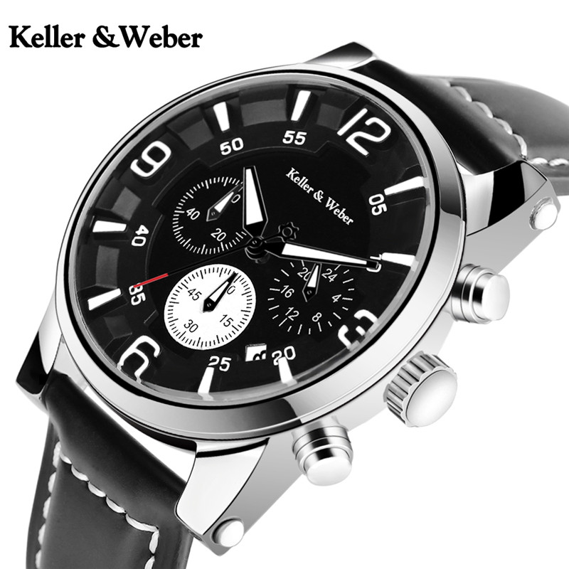 Keller & Weber Date Stop Watch Men Quartz Chronograph Casual Dress Black/Brown Genuine Leather Band Strap Formal keller