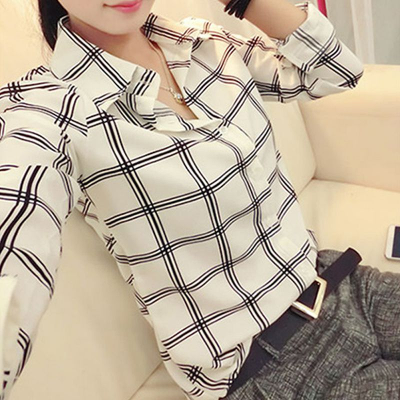 Blouses & Shirts Womens Long Sleeve White Shirts Plaids Pattern Lapel Casual Blouse Tops