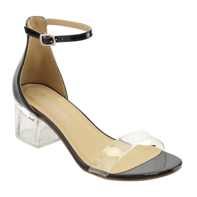 IF09 Women Shoes Clear Single Band Ankle Strap Lucite Heel Dress Sandal