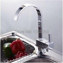 Высокое качество латунь материал хром горячей и холодной кухонной мойки бассейна кран смеситель