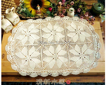Christmas must Handmade Crochet flowers hollow 40X60CM Oval Table cloth Hot Tablecloths Cotton placemats Sofa Cover cloth 2PCS