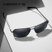 MERRY'S Men Classic Rectangle Sunglasses Aviation Frame HD P