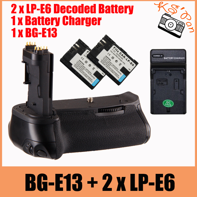 Free Shipping BG-E13 Battery Grip for Canon BG E13 EOS 6D DSLR Camera as LP-E6 + 2 x Decoded LP-E6 Battery + Battery Charger hot sellling 2pcs full code decoded 1800mah lp e6 camera digital battery lpe6 batterie for canon dslr eos 60d 5d3 7d 6d 70d 5d
