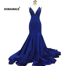 Doragrace robe de soiree V-Neck Sleeveless Trumpet/ Mermaid Evening Gowns Royal Blue Formal Dresses