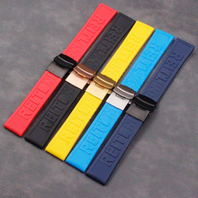 Watch Accessories Men's Silicone Strap 22mm24mm Folding Buckle Applicable to Breitling Ms. Sports Waterproof Natural Rubber Stra цены