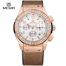 MEGIR Fashion Mens Brown Leather Unisex Quartz Watches Chronograph Wristwatch for Woman Luxury Neuter Watches for