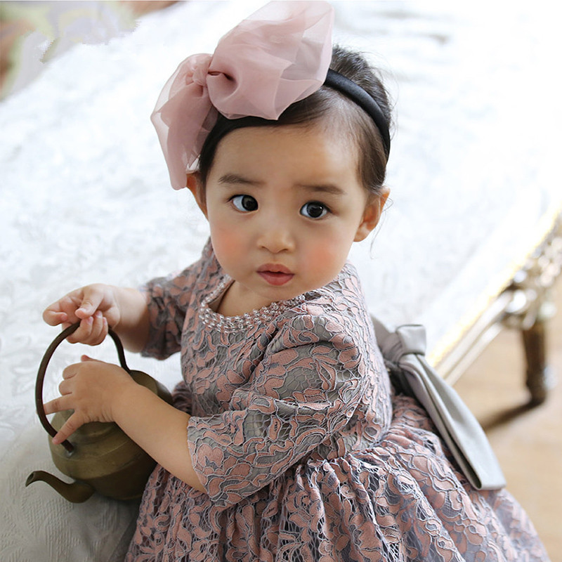 Infant Baby Clothes Beads Lace Bow Newborn Baptism Dress For Baby Girls Party Christening Dresses Infant 1 Year Birthday Outfits