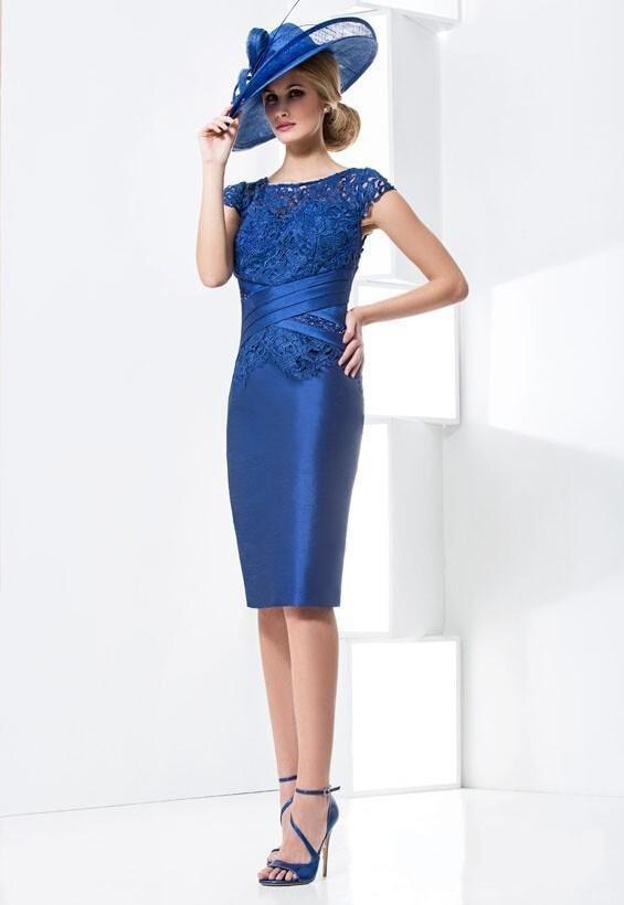 Прозрачное облегающее до колен платье для матери невесты с рукавами-крылышками Королевское голубое кружево сатин vestidos de gala - Цвет: as photo