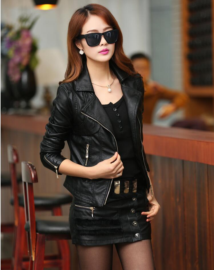 Women motorcycle   leather   jackets Autumn winter women High quality black short   Leather   jackets plus size   leather   jacket S-XXXL