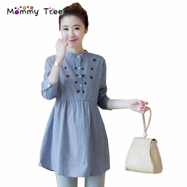 5a23bbe34cea2 Fall Spring Stripe Blue Maternity Blouses Shirts for Pregnant Women Plus  Size Pregnancy Shirt Maternity Clothes Premama Blouse