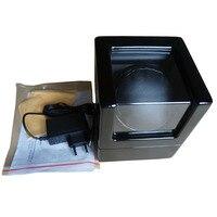 Madera Negra + caja enrolladora de reloj de cuero automático batería/EU/US/UK/AU enchufe giratorio movimiento ratato caja bobinadora marca accesorios de reloj