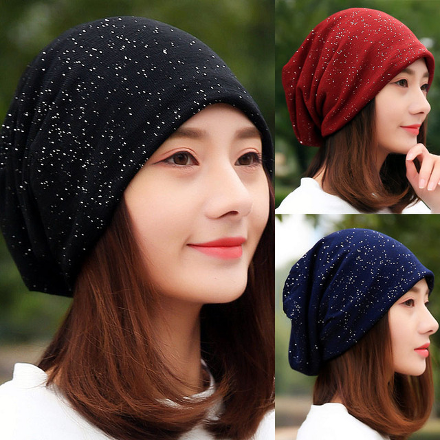 Hot Sale Women Casual Cotton Sequin Spring Winter Headscarf Ladies Black  Red Navy Beanies for Girl Female Hip Hop Hats Caps 0b7502361cd