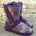 UVWP Nueva Moda botas de Nieve de Las Mujeres botas 100% botas de Cuero Genuino de la Zalea Felpa Gruesa Natural de Piel de Lana Caliente Botas de Invierno
