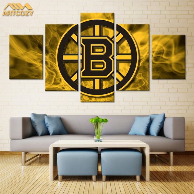 Artcozy 5 Panel Canvas Art Painting Spray Printings Gloden Letter B ...