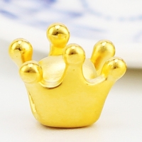 Real 999 24k Yellow Gold Pendant 3D Women Lovely Crown Only Pendant 10.5x8.5mm