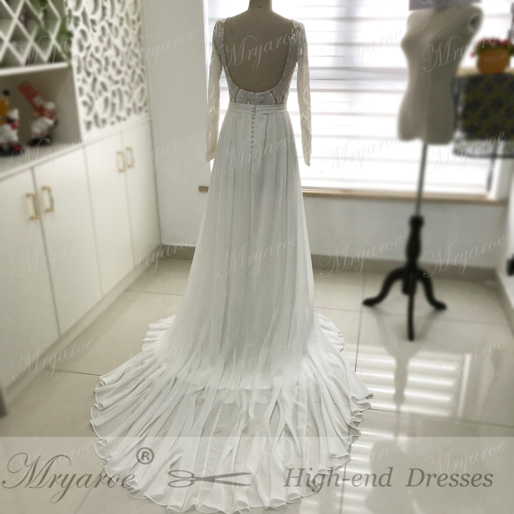 Mryarce Unique Lace Long Sleeves Open Back Hippie StylevWedding Dress Chiffon A line Long Boho Chic Rustic Bridal Gowns (2)