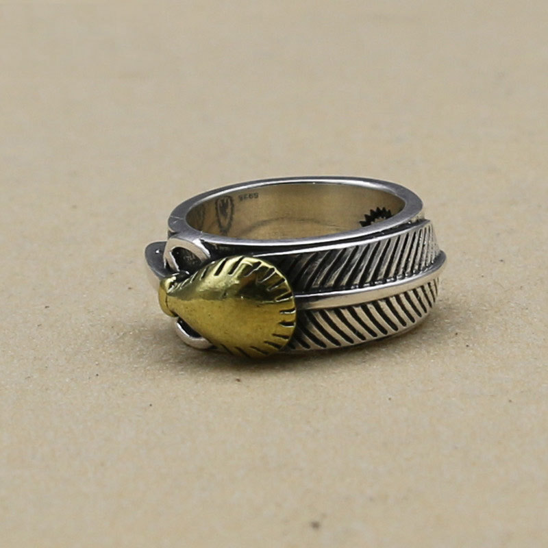 Takahashi Kagura Goro Handmade Gold Feather Thai Silver Ring Temperament 925 Sterling Silver Jewelry Male Retro Ring