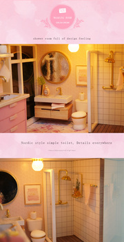 bathroom of the pink doll house, shower, toilet, mirror and vanity with items