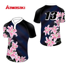 Kawasaki Brand Custom Mens Sublimation Print Rugby Jersey Top Breathable Quick Dry Sports Short Shirts For Rugby Match Games