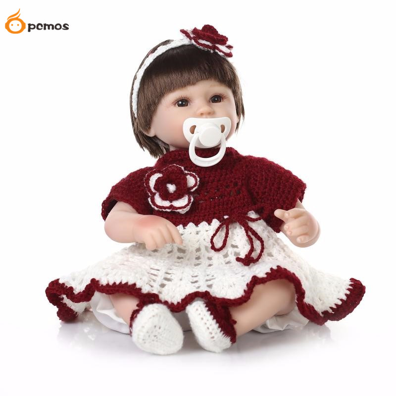 [PCMOS] 17 Lifelike Reborn Girl Dolls Silicone Vinyl Handmade Baby Red Knit Flower Dress Toy Doll Collection 16062439 lucky child lucky child штанишки вежливые люди хаки
