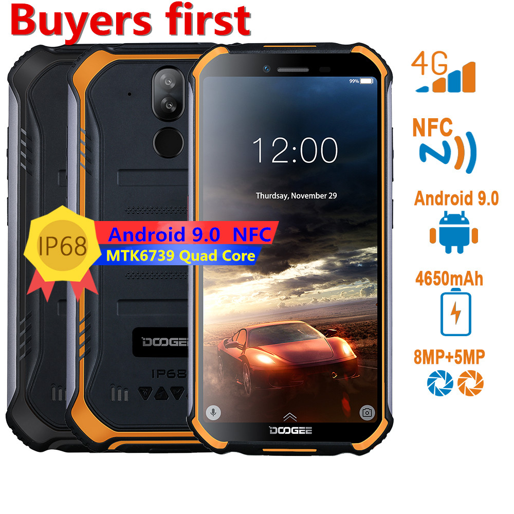 "2019 Original DOOGEE IP68 Waterproof Smartphone 5.5"" 4650mAh MT6739 Quad Core 3GB+32GB Android 9.1 8.0MP NFC 4G Mobile Phone"