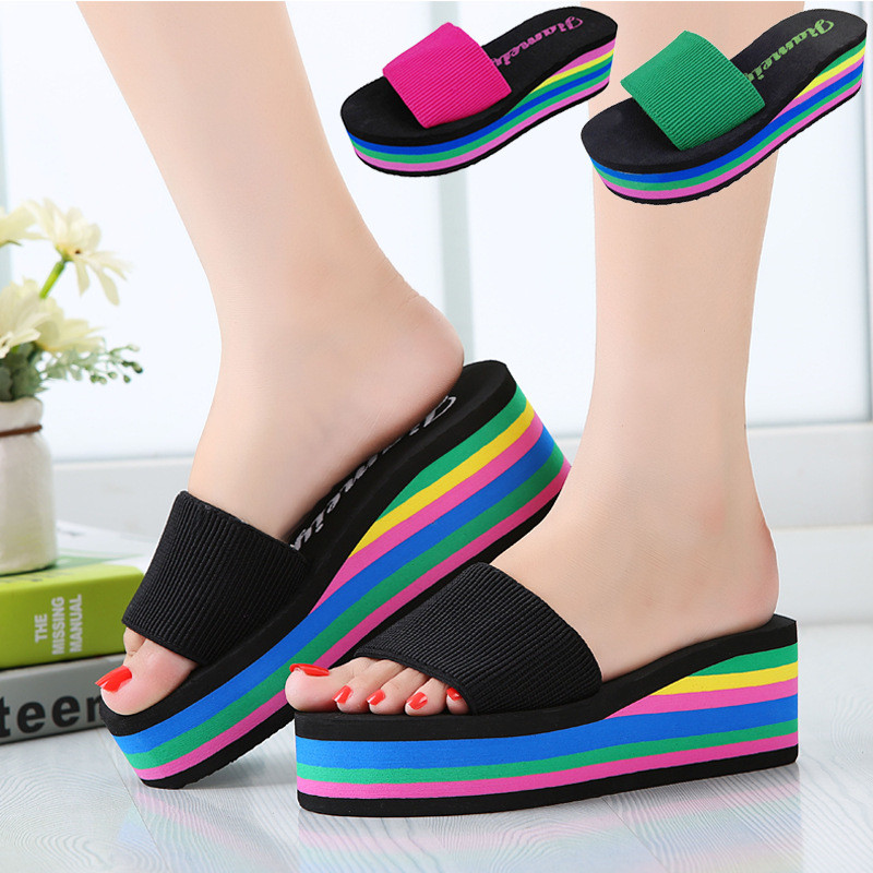 Summer Women Platform Sandals Wedges Slippers Rainbow Thick Heel Sandals Ladies Shoes Women Summer Shoes Beach waikol new women summer heavy bottomed sandals ladies beach slippers wedges shoes platform candy color casual shoes wholesale