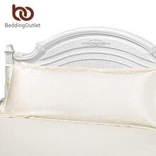 Venta directa Blanco Sólido Funda de almohada Larga Funda de Almohada Cubierta de Seda de Raso de Tela Textiles Para El Hogar 1 unid 2 Tamaño para el Dormitorio