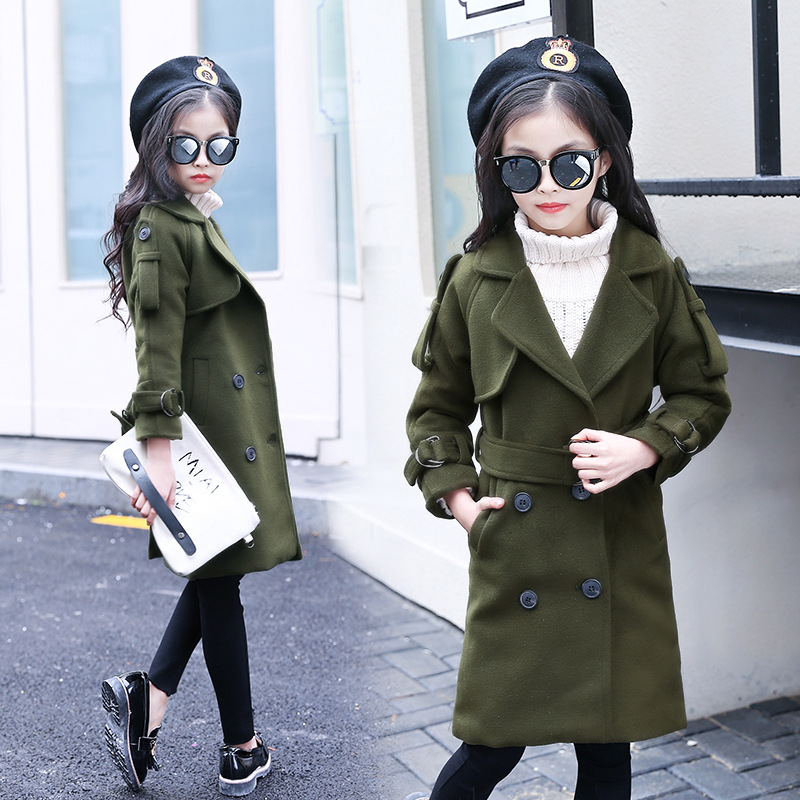 ФОТО autumn spring trend coats girls kids clothes long overcoat baby big girls coat khaki army green pockets 2017 new girls tops