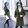 autumn spring trend coats girls kids clothes long overcoat baby big girls coat khaki army green pockets 2017 new girls tops