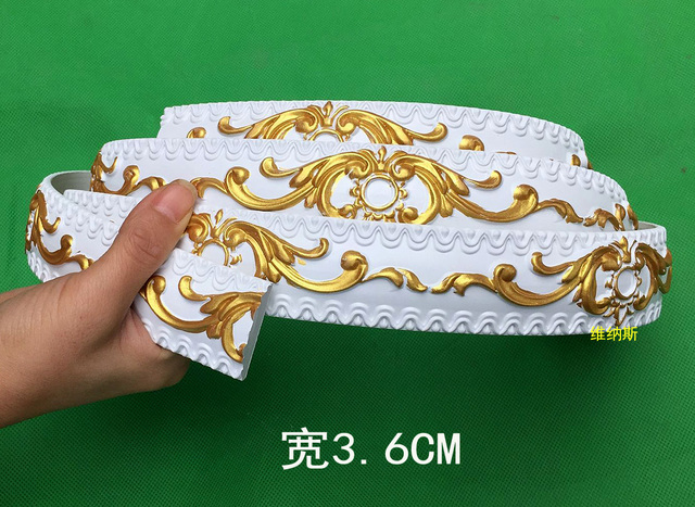 New European Decorative Flexible Ceiling Crown Molding Pvc Trim Stip Curved  Lines Of Furniture 3.6 Cm