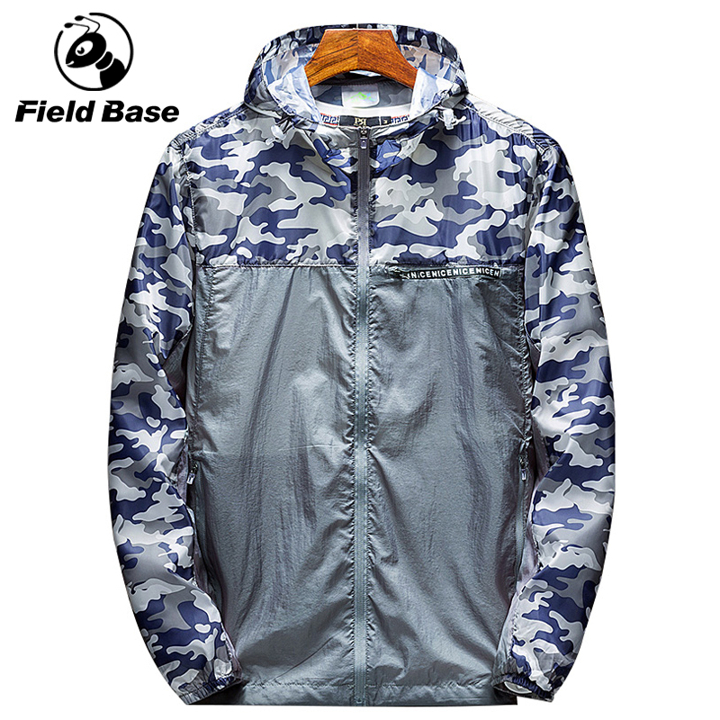 Field Base New Bomber Jacket Men Camouflage Print Hooded Thin Jackets Men Wind Breaker Jacket Youth Fashion Windproof Coat M-4XL