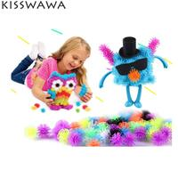KISSWAWA 400pcs Set Assemble 3D Puzzle DIY Puff Ball Squeezed Creative Thorn Clusters Handmade Educational Toys