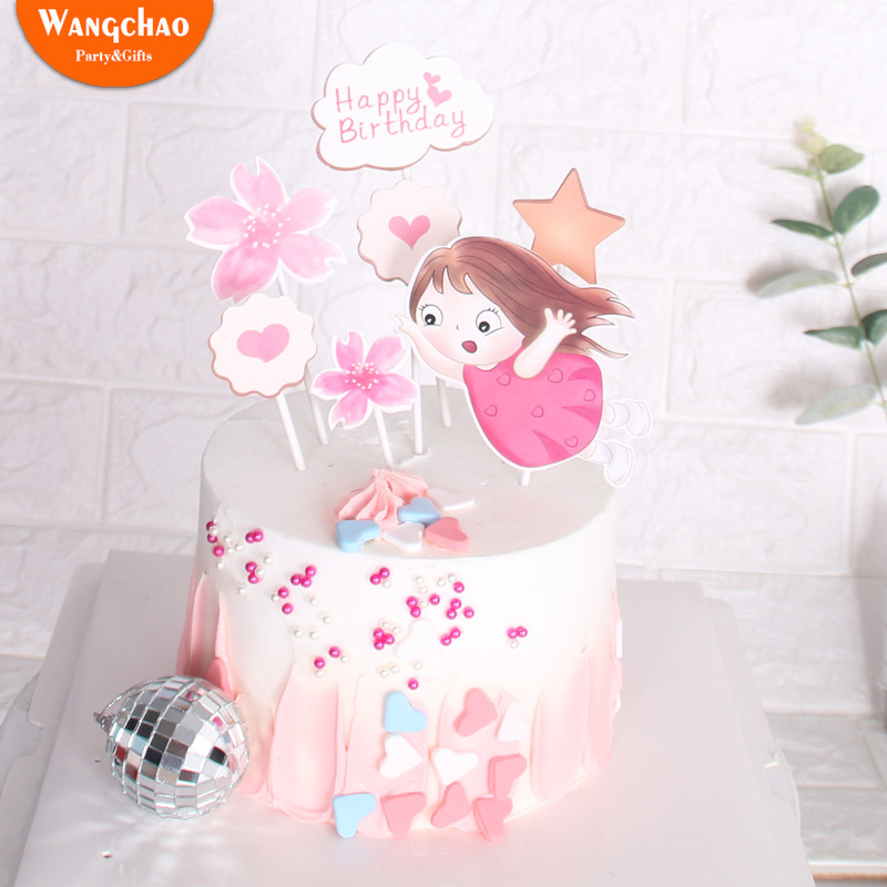 Magnificent 1 Set Lovely Sweet Little Girl Flower Heart Cake Topper Happy Funny Birthday Cards Online Elaedamsfinfo