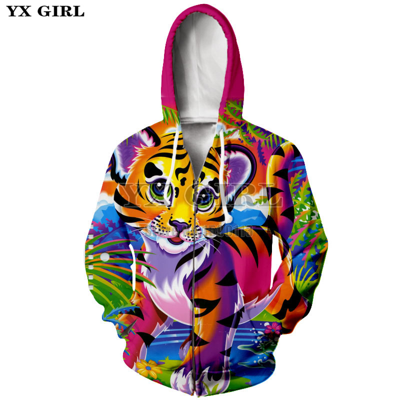 YX GIRL Lisa Frank Dolphins /Hunter/Unicorn Sweatshirt Psychedelic 3d Printed zipper Hoodies Women Men Autumn Fall Style Jumper