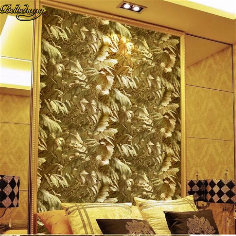 beibehang Luxury reflective gold foil photo wallpapers floating yellow background background wall stickers for ceiling wallpap
